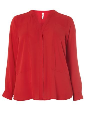 Red Soft Blouse - neckline: v-neck; pattern: plain; style: blouse; predominant colour: true red; occasions: casual, evening, occasion; length: standard; fibres: polyester/polyamide - 100%; fit: body skimming; sleeve length: long sleeve; sleeve style: standard; texture group: crepes; pattern type: fabric; season: s/s 2016; wardrobe: highlight