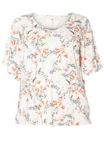 Blush Pink Floral Print Top - predominant colour: white; secondary colour: navy; occasions: casual; length: standard; style: top; fibres: viscose/rayon - stretch; fit: body skimming; neckline: crew; sleeve length: short sleeve; sleeve style: standard; pattern type: fabric; pattern: florals; texture group: jersey - stretchy/drapey; multicoloured: multicoloured; season: s/s 2016; wardrobe: highlight