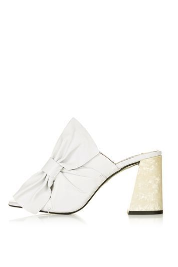 Prosecco Pearl Effect High Heel Mule - predominant colour: white; occasions: evening; material: leather; heel height: high; heel: block; toe: open toe/peeptoe; style: mules; finish: plain; pattern: plain; embellishment: bow; season: s/s 2016; wardrobe: event; trends: romantic ruffles