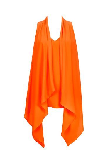 Sapphire Orange Drape Front Top - neckline: v-neck; pattern: plain; sleeve style: sleeveless; length: below the bottom; bust detail: subtle bust detail; predominant colour: bright orange; occasions: casual, evening; style: top; fibres: polyester/polyamide - 100%; fit: loose; hip detail: subtle/flattering hip detail; sleeve length: sleeveless; texture group: sheer fabrics/chiffon/organza etc.; pattern type: fabric; season: s/s 2016; trends: sapphire collection; wardrobe: highlight