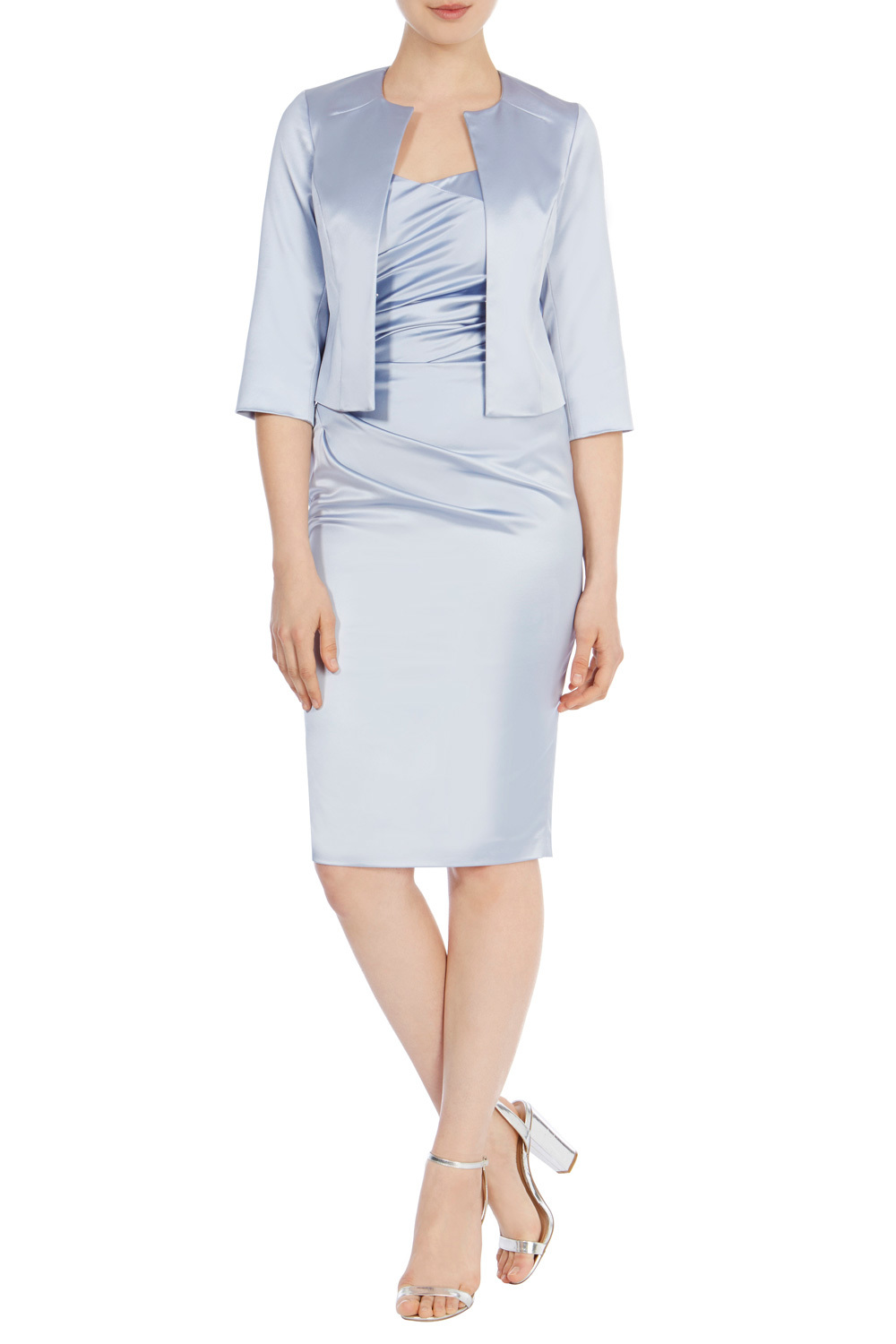 Zariya Duchess Satin Jacket - pattern: plain; collar: round collar/collarless; style: boxy; predominant colour: pale blue; fit: straight cut (boxy); fibres: polyester/polyamide - 100%; occasions: occasion; sleeve length: 3/4 length; sleeve style: standard; texture group: structured shiny - satin/tafetta/silk etc.; collar break: low/open; pattern type: fabric; length: cropped; season: s/s 2016; wardrobe: event