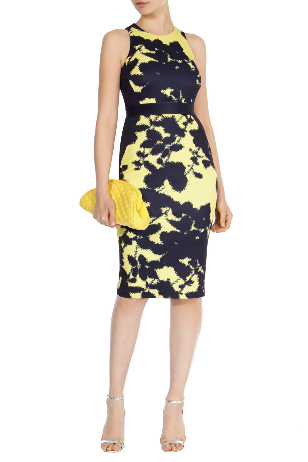 Chapati Print Nina Dress - fit: tight; sleeve style: sleeveless; style: bodycon; secondary colour: navy; predominant colour: primrose yellow; occasions: evening; length: on the knee; fibres: polyester/polyamide - 100%; neckline: crew; sleeve length: sleeveless; texture group: jersey - clingy; pattern type: fabric; pattern: florals; season: s/s 2016; wardrobe: event