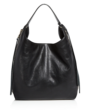 Bryn Double Zip Hobo - predominant colour: black; occasions: casual; type of pattern: standard; length: shoulder (tucks under arm); size: standard; material: leather; pattern: plain; finish: plain; style: hobo; season: s/s 2016; wardrobe: investment