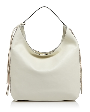 Bryn Double Zip Hobo - predominant colour: ivory/cream; occasions: casual; type of pattern: standard; length: shoulder (tucks under arm); size: standard; material: leather; embellishment: tassels; pattern: plain; finish: plain; style: hobo; season: s/s 2016; wardrobe: investment