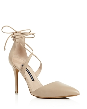 Elise Lace Up Ankle Strap Pumps - predominant colour: stone; occasions: evening, occasion; material: leather; heel height: high; ankle detail: ankle tie; heel: stiletto; toe: pointed toe; style: courts; finish: plain; pattern: plain; season: s/s 2016