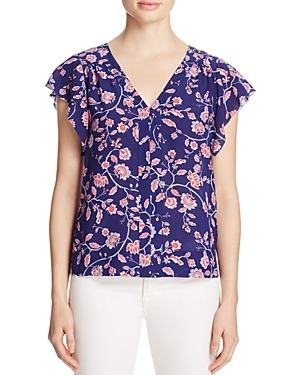 Kyoto Floral Silk Top - neckline: v-neck; sleeve style: angel/waterfall; secondary colour: pink; predominant colour: navy; occasions: casual; length: standard; style: top; fibres: silk - 100%; fit: body skimming; sleeve length: short sleeve; texture group: silky - light; pattern type: fabric; pattern: florals; season: s/s 2016; wardrobe: highlight