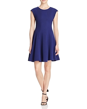 Textured Dress - pattern: plain; sleeve style: sleeveless; predominant colour: royal blue; occasions: evening; length: just above the knee; fit: fitted at waist & bust; style: fit & flare; fibres: polyester/polyamide - stretch; neckline: crew; sleeve length: sleeveless; pattern type: fabric; texture group: jersey - stretchy/drapey; season: s/s 2016; wardrobe: event