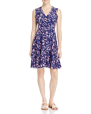 Kyoto Ruffled Trim Floral Print Silk Dress - style: tea dress; neckline: v-neck; sleeve style: sleeveless; secondary colour: blush; predominant colour: navy; occasions: evening; length: just above the knee; fit: body skimming; fibres: silk - 100%; sleeve length: sleeveless; texture group: silky - light; pattern type: fabric; pattern: florals; season: s/s 2016