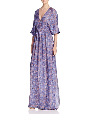 Corinne Floral Caftan - neckline: v-neck; style: kaftan; predominant colour: lilac; occasions: evening, occasion; length: floor length; fit: body skimming; fibres: silk - mix; sleeve length: half sleeve; sleeve style: standard; texture group: silky - light; pattern type: fabric; pattern: florals; season: s/s 2016; wardrobe: event