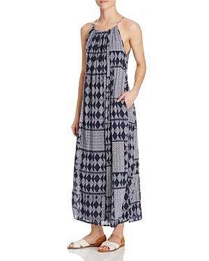 Printed Halter Maxi Dress - neckline: round neck; fit: loose; sleeve style: sleeveless; style: maxi dress; length: ankle length; predominant colour: mid grey; secondary colour: black; occasions: casual; fibres: cotton - 100%; sleeve length: sleeveless; pattern type: fabric; pattern: patterned/print; texture group: jersey - stretchy/drapey; multicoloured: multicoloured; season: s/s 2016; wardrobe: highlight