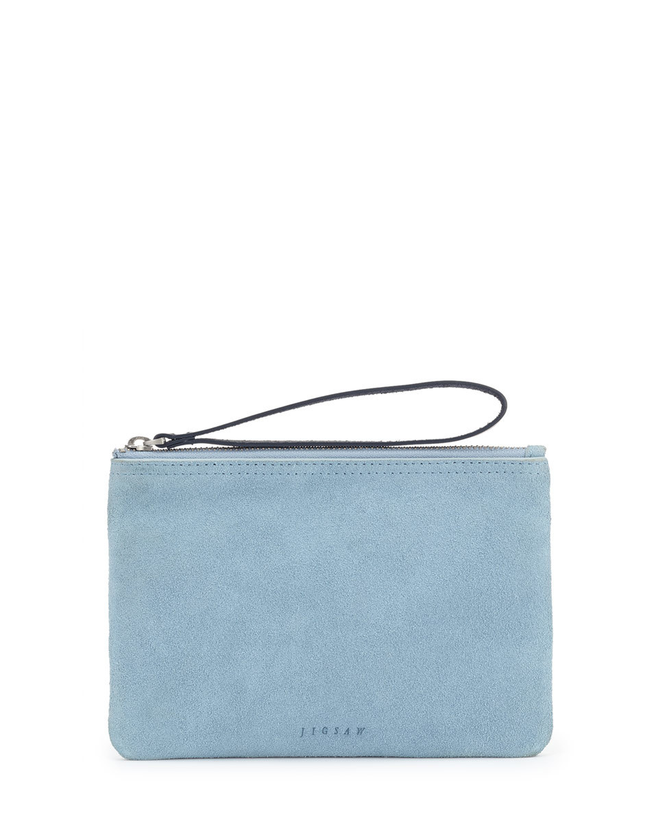 Ava Suede Mini Clutch - predominant colour: pale blue; secondary colour: black; occasions: evening, occasion; type of pattern: standard; style: grab bag; length: hand carry; size: mini; material: suede; pattern: plain; finish: plain; season: s/s 2016; wardrobe: event