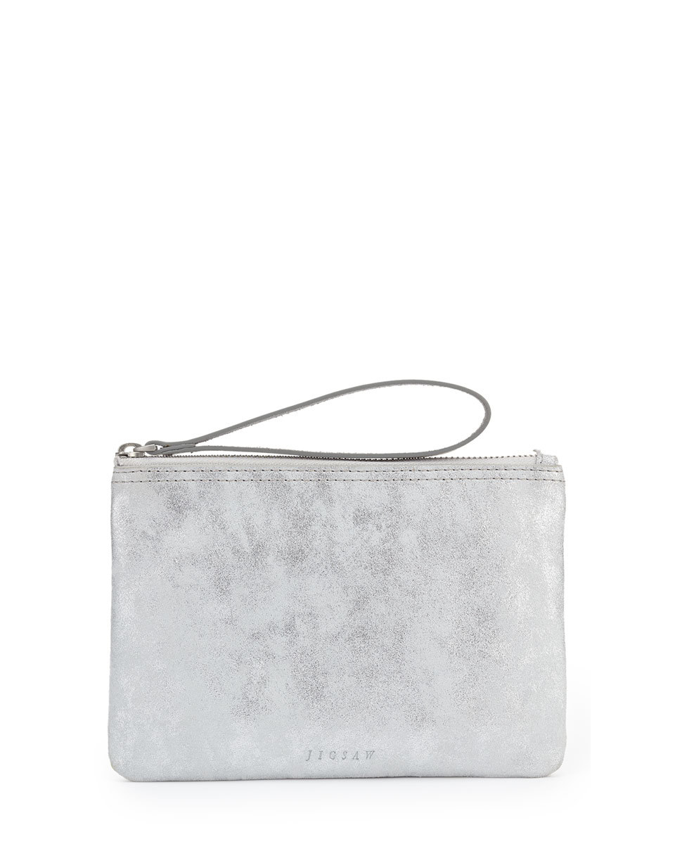 Ava Suede Mini Clutch - predominant colour: silver; occasions: evening, occasion; type of pattern: standard; style: clutch; length: hand carry; size: mini; material: suede; pattern: plain; finish: plain; season: s/s 2016; wardrobe: event