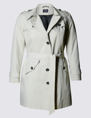 Plus Belted Trench With Stormwear™ - pattern: plain; style: mac; length: mid thigh; predominant colour: light grey; occasions: casual, creative work; fit: tailored/fitted; fibres: polyester/polyamide - 100%; collar: shirt collar/peter pan/zip with opening; waist detail: belted waist/tie at waist/drawstring; sleeve length: long sleeve; sleeve style: standard; texture group: technical outdoor fabrics; collar break: high/illusion of break when open; pattern type: fabric; season: s/s 2016; wardrobe: basic
