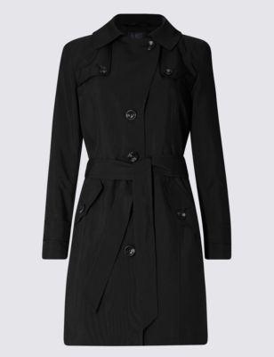 Petite Belted Trench With Stormwear™ - pattern: plain; style: mac; length: on the knee; collar: high neck; predominant colour: black; occasions: work; fit: tailored/fitted; fibres: polyester/polyamide - 100%; waist detail: belted waist/tie at waist/drawstring; sleeve length: long sleeve; sleeve style: standard; texture group: technical outdoor fabrics; collar break: high; pattern type: fabric; season: s/s 2016; wardrobe: highlight