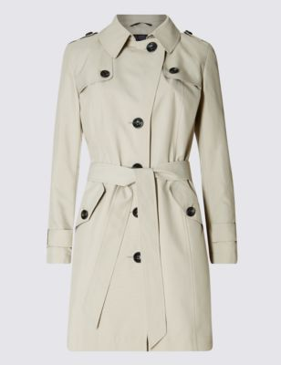 Petite Button Through Belted Mac - pattern: plain; style: mac; length: on the knee; collar: high neck; predominant colour: ivory/cream; occasions: casual, creative work; fit: tailored/fitted; fibres: polyester/polyamide - 100%; waist detail: belted waist/tie at waist/drawstring; sleeve length: long sleeve; sleeve style: standard; texture group: technical outdoor fabrics; collar break: high; pattern type: fabric; pattern size: standard; season: s/s 2016