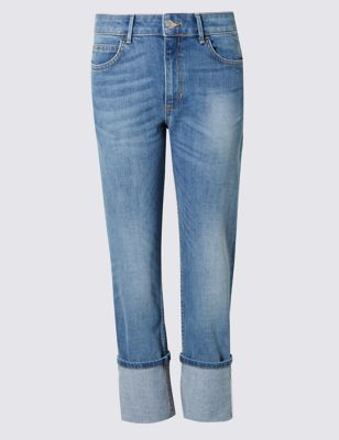 Relaxed Straight Leg Jeans - style: straight leg; length: standard; pattern: plain; pocket detail: traditional 5 pocket; waist: mid/regular rise; predominant colour: denim; occasions: casual; fibres: cotton - stretch; jeans detail: whiskering, shading down centre of thigh; jeans & bottoms detail: turn ups; texture group: denim; pattern type: fabric; season: s/s 2016