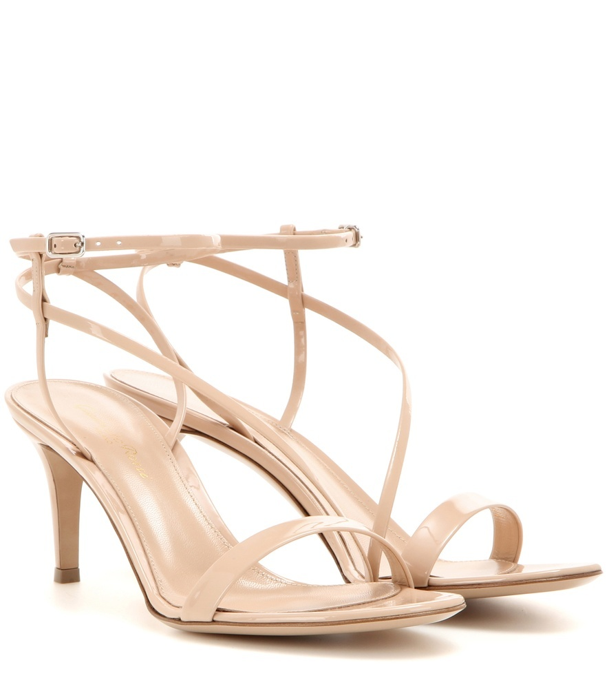 Carlyle Mid Patent Leather Sandals - predominant colour: nude; occasions: evening, occasion; material: leather; heel height: high; ankle detail: ankle strap; heel: stiletto; toe: open toe/peeptoe; style: strappy; finish: plain; pattern: plain; season: s/s 2016; wardrobe: event