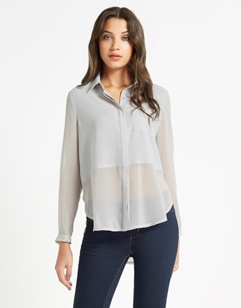 Long Sleeve Sheer Blouse - neckline: shirt collar/peter pan/zip with opening; pattern: plain; style: shirt; predominant colour: light grey; occasions: casual, creative work; length: standard; fibres: polyester/polyamide - 100%; fit: body skimming; sleeve length: long sleeve; sleeve style: standard; texture group: sheer fabrics/chiffon/organza etc.; pattern type: fabric; season: s/s 2016; wardrobe: basic