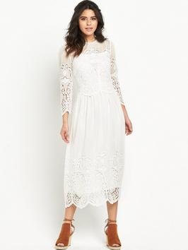 Silk Lace Embroidered Dress - style: shift; length: calf length; pattern: plain; bust detail: sheer at bust; predominant colour: white; occasions: evening; fit: body skimming; fibres: silk - 100%; neckline: crew; sleeve length: long sleeve; sleeve style: standard; texture group: lace; pattern type: fabric; season: s/s 2016; wardrobe: event