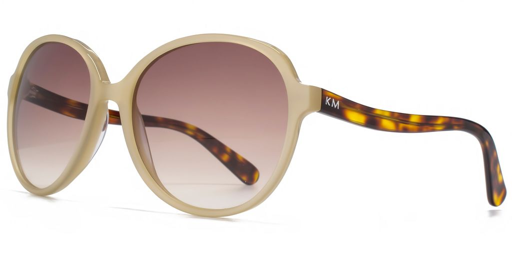 26 Kmp003 Cream Round Sunglasses - predominant colour: ivory/cream; secondary colour: tan; occasions: casual, holiday; style: round; size: large; material: plastic/rubber; pattern: tortoiseshell; finish: plain; season: s/s 2016; wardrobe: basic