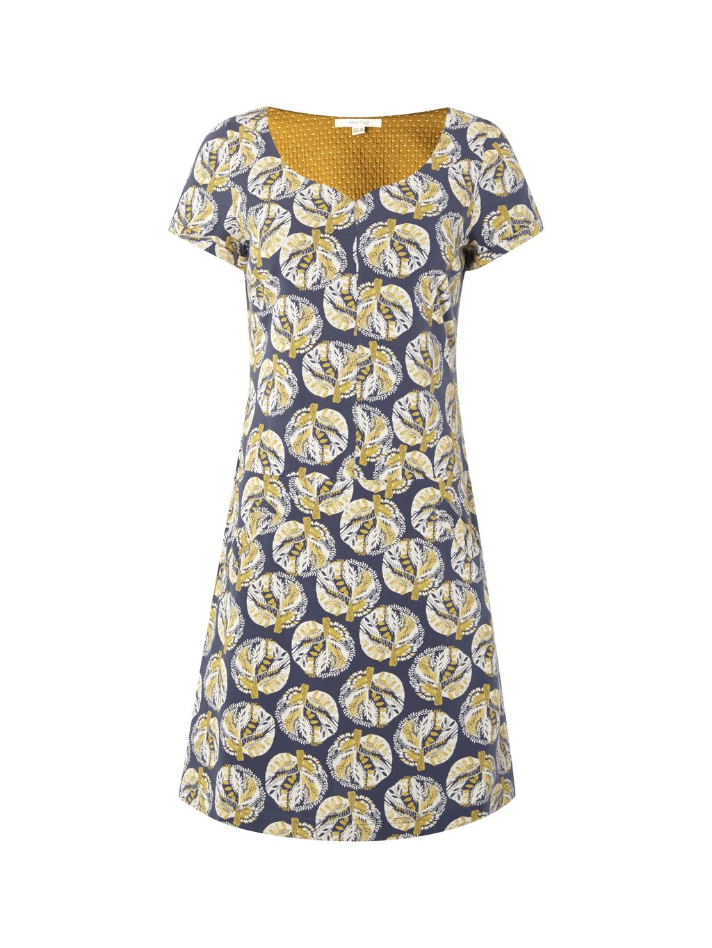 Archive Jersey Dress, Yellow - style: shift; neckline: v-neck; predominant colour: navy; secondary colour: primrose yellow; occasions: casual; length: just above the knee; fit: body skimming; fibres: cotton - 100%; sleeve length: short sleeve; sleeve style: standard; pattern type: fabric; pattern: patterned/print; texture group: jersey - stretchy/drapey; multicoloured: multicoloured; season: s/s 2016; wardrobe: highlight