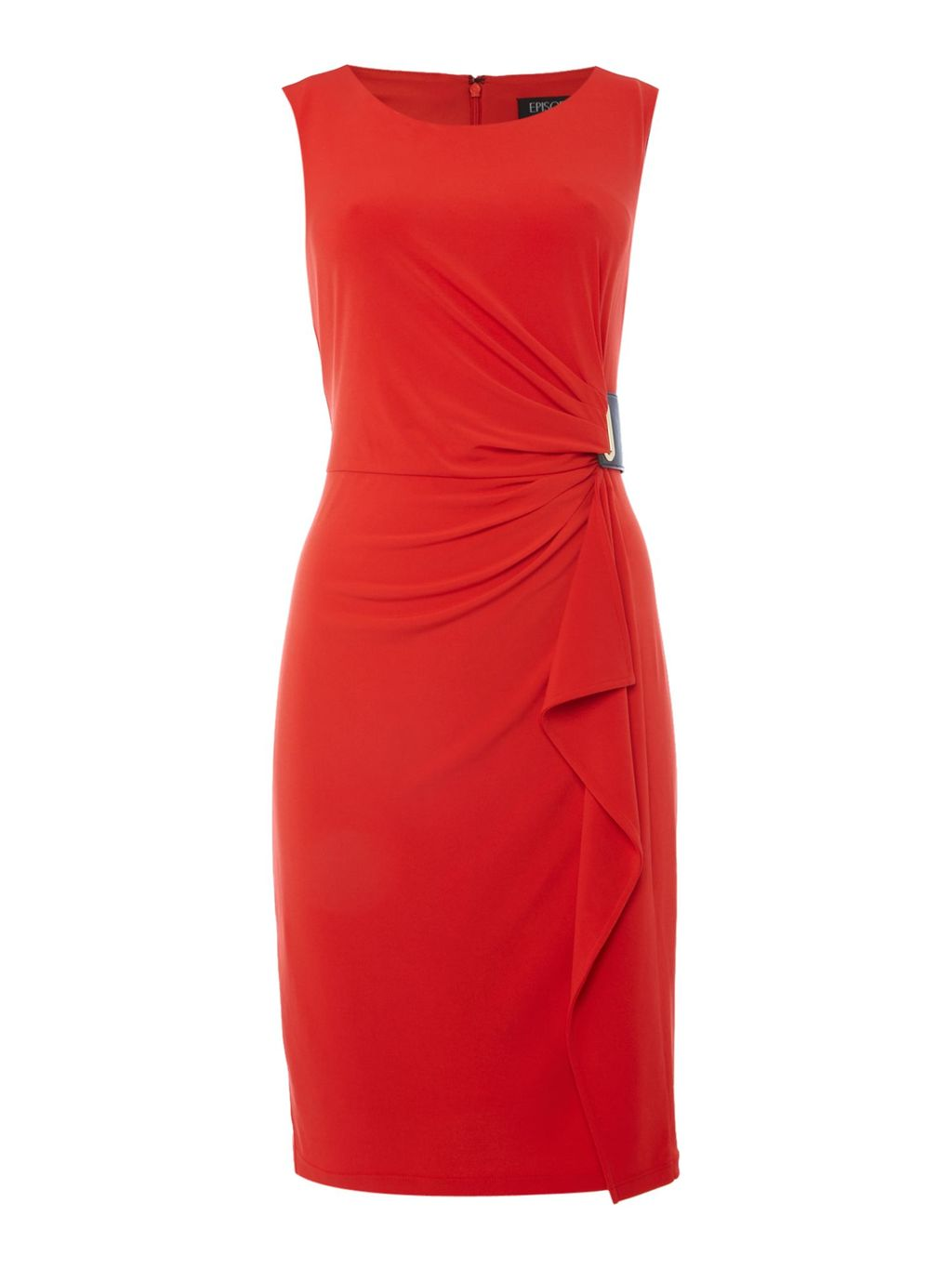 Wrap Dress With Buckle, Orange - style: shift; pattern: plain; sleeve style: sleeveless; predominant colour: true red; occasions: evening; length: just above the knee; fit: body skimming; fibres: polyester/polyamide - 100%; neckline: crew; hip detail: adds bulk at the hips; sleeve length: sleeveless; pattern type: fabric; texture group: jersey - stretchy/drapey; season: s/s 2016; wardrobe: event