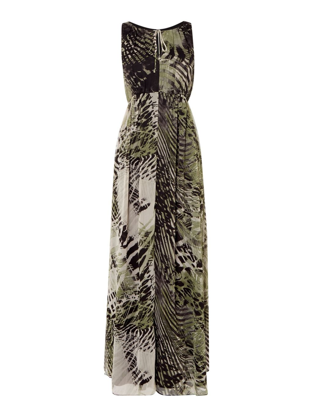 Sleeveless Printed Maxi Dress, Animal - sleeve style: sleeveless; style: maxi dress; secondary colour: ivory/cream; predominant colour: taupe; occasions: evening; length: floor length; fit: body skimming; fibres: polyester/polyamide - 100%; neckline: crew; sleeve length: sleeveless; pattern type: fabric; pattern: animal print; texture group: jersey - stretchy/drapey; multicoloured: multicoloured; season: s/s 2016; wardrobe: event