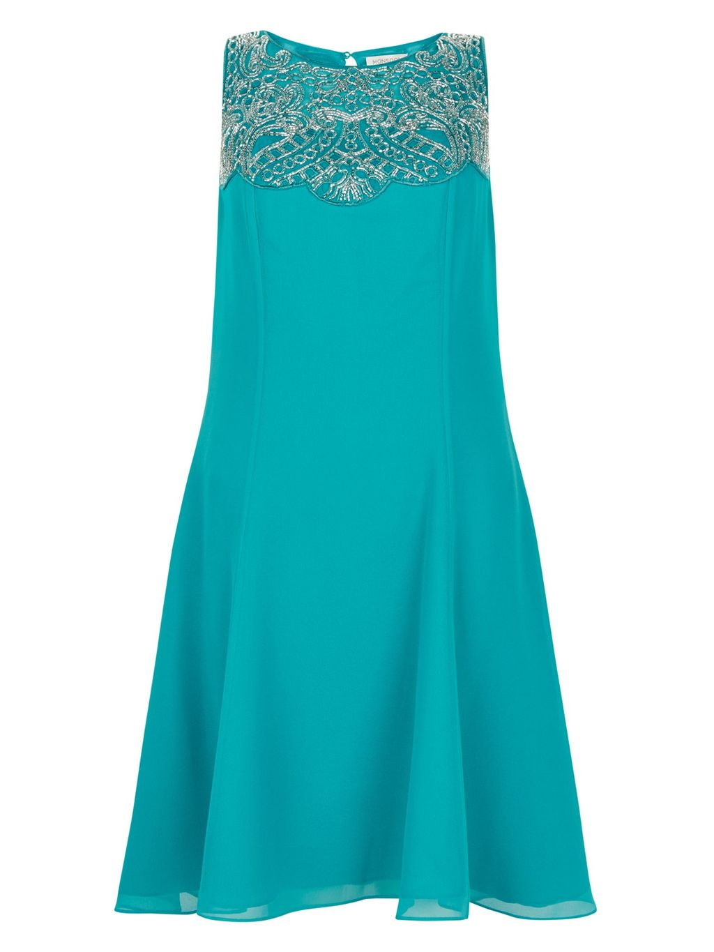 Clover Dress, Teal - style: shift; pattern: plain; sleeve style: sleeveless; predominant colour: teal; occasions: evening; length: on the knee; fit: body skimming; fibres: polyester/polyamide - 100%; neckline: crew; sleeve length: sleeveless; pattern type: fabric; texture group: jersey - stretchy/drapey; season: s/s 2016; wardrobe: event