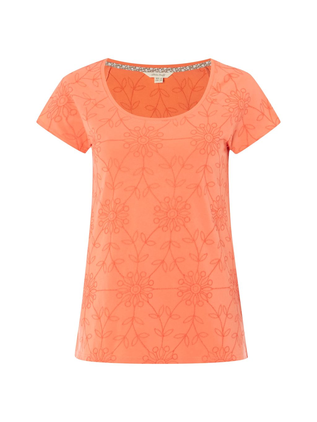 Rosanna Emb Jersey Tee, Pink - neckline: round neck; style: t-shirt; predominant colour: coral; occasions: casual; length: standard; fibres: cotton - 100%; fit: body skimming; sleeve length: short sleeve; sleeve style: standard; pattern type: fabric; pattern size: standard; pattern: florals; texture group: jersey - stretchy/drapey; season: s/s 2016; wardrobe: highlight