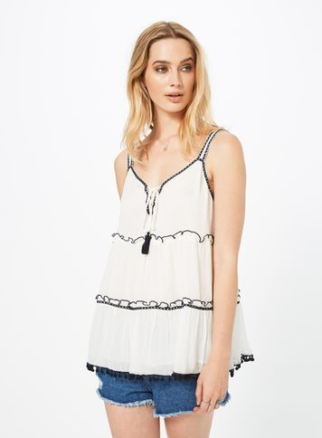Womens Mono Trim Tiered Cami, Assorted - neckline: low v-neck; pattern: plain; sleeve style: sleeveless; style: vest top; predominant colour: white; secondary colour: black; occasions: casual; length: standard; fibres: cotton - 100%; fit: loose; sleeve length: sleeveless; pattern type: fabric; texture group: jersey - stretchy/drapey; embellishment: lace; multicoloured: multicoloured; season: s/s 2016; wardrobe: highlight