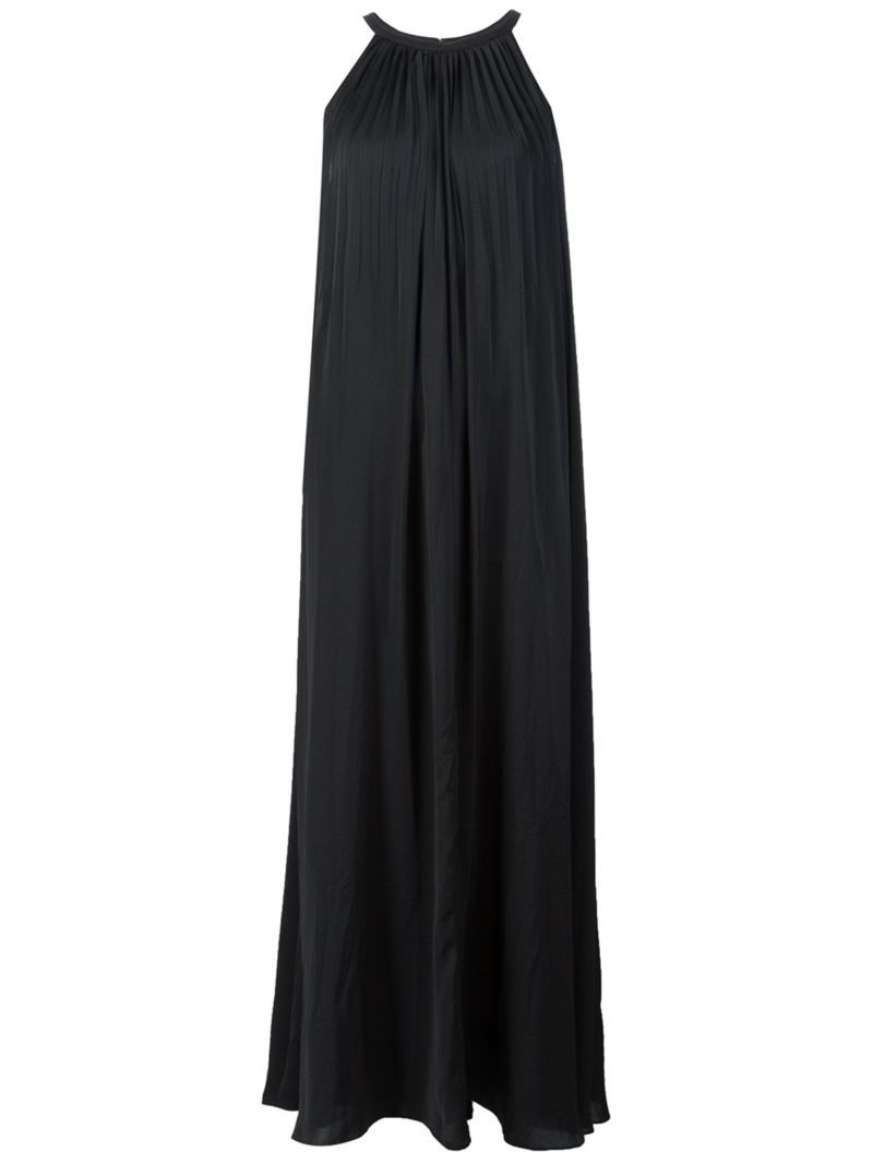 'sunburst' Pleated Maxi Dress, Women's, Black - pattern: plain; sleeve style: sleeveless; style: maxi dress; predominant colour: navy; occasions: evening; length: floor length; fit: body skimming; fibres: cotton - 100%; neckline: crew; sleeve length: sleeveless; pattern type: fabric; texture group: jersey - stretchy/drapey; season: s/s 2016; wardrobe: event