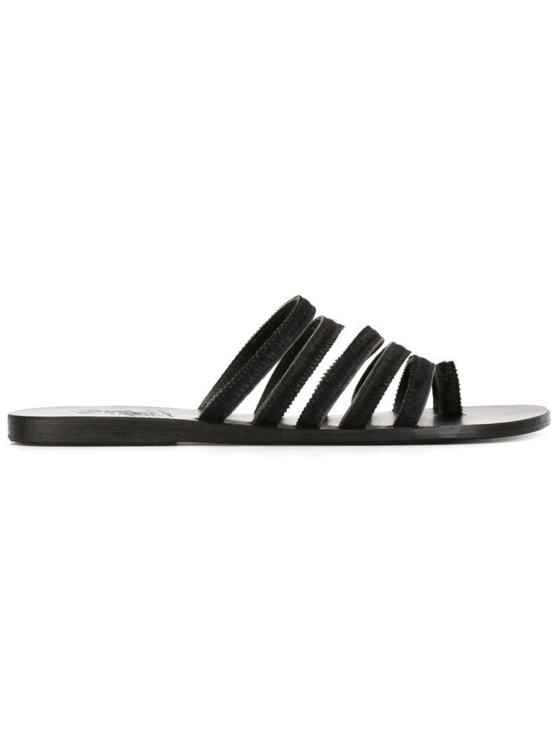 'niki' Sandals, Women's, Black - predominant colour: black; occasions: casual, holiday; material: leather; heel height: flat; heel: standard; toe: open toe/peeptoe; style: slides; finish: plain; pattern: plain; season: s/s 2016