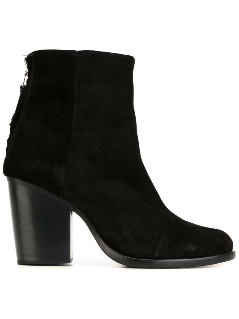 Chunky Heel Boots, Women's, Black - predominant colour: black; occasions: casual; material: leather; heel height: high; heel: block; toe: round toe; boot length: ankle boot; style: standard; finish: plain; pattern: plain; season: s/s 2016; wardrobe: highlight