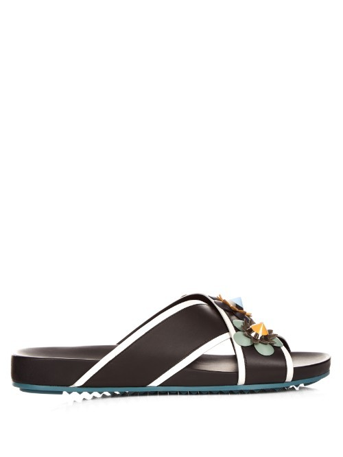Flowerland Leather Slides - predominant colour: black; material: leather; heel height: high; heel: standard; toe: open toe/peeptoe; style: slides; occasions: holiday; finish: plain; pattern: colourblock; season: s/s 2016