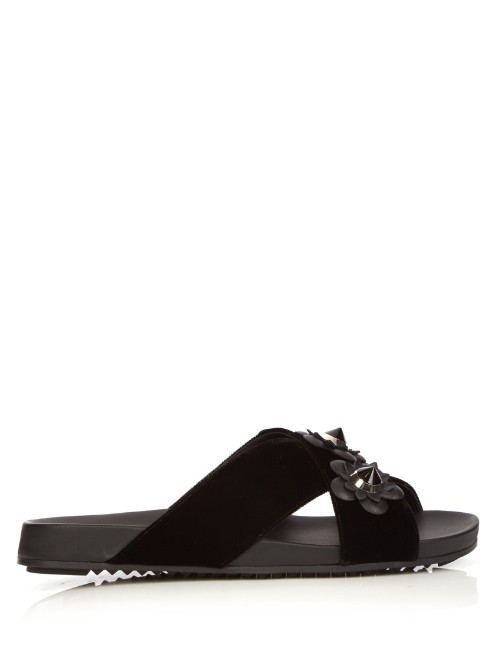 Flowerland Velvet Slides - predominant colour: black; occasions: casual, holiday; material: velvet; heel height: flat; heel: block; toe: open toe/peeptoe; style: slides; finish: plain; pattern: plain; shoe detail: moulded soul; season: s/s 2016; wardrobe: highlight