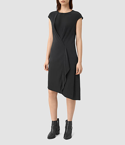 Breeze Dress - length: below the knee; sleeve style: capped; pattern: plain; predominant colour: black; occasions: evening; fit: body skimming; style: asymmetric (hem); fibres: silk - 100%; neckline: crew; sleeve length: short sleeve; pattern type: fabric; texture group: jersey - stretchy/drapey; season: s/s 2016; wardrobe: event