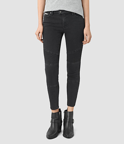 Biker Cropped Jeans - style: skinny leg; pattern: plain; pocket detail: traditional 5 pocket; waist: mid/regular rise; predominant colour: black; occasions: casual; length: ankle length; fibres: cotton - stretch; texture group: denim; pattern type: fabric; season: s/s 2016; wardrobe: basic