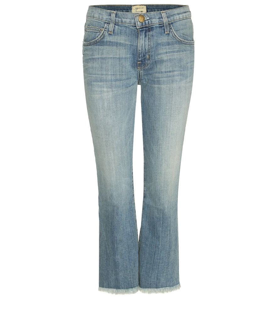 The Cropped Flip Flop Jeans - style: bootcut; pattern: plain; pocket detail: traditional 5 pocket; waist: mid/regular rise; predominant colour: denim; occasions: casual; length: calf length; fibres: cotton - 100%; jeans detail: whiskering, washed/faded; texture group: denim; pattern type: fabric; season: s/s 2016; wardrobe: basic