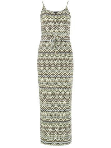Womens Lime Chevron Jersey Maxi Dress Green - neckline: v-neck; sleeve style: spaghetti straps; style: maxi dress; length: ankle length; waist detail: belted waist/tie at waist/drawstring; predominant colour: light grey; occasions: casual; fit: body skimming; fibres: viscose/rayon - stretch; sleeve length: sleeveless; pattern type: fabric; pattern: patterned/print; texture group: jersey - stretchy/drapey; season: s/s 2016