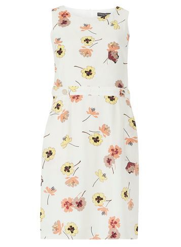 Womens Pansy Printed A Line Pinafore Dress White - style: shift; length: mini; fit: tailored/fitted; sleeve style: sleeveless; predominant colour: white; secondary colour: blush; occasions: evening; fibres: viscose/rayon - 100%; neckline: crew; sleeve length: sleeveless; pattern type: fabric; pattern: florals; texture group: other - light to midweight; multicoloured: multicoloured; season: s/s 2016; wardrobe: event