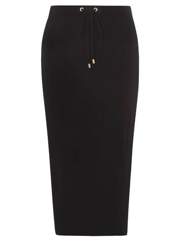 Womens Black Tie Waist Sporty Tube Skirt Black - length: below the knee; pattern: plain; fit: tight; hip detail: draws attention to hips; waist detail: belted waist/tie at waist/drawstring; waist: mid/regular rise; predominant colour: black; occasions: casual; fibres: viscose/rayon - stretch; style: tube; pattern type: fabric; texture group: jersey - stretchy/drapey; season: s/s 2016; wardrobe: basic