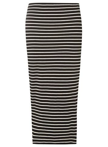 Womens Black And Ivory Stripe Tube Skirt Black - length: calf length; fit: tight; waist: mid/regular rise; secondary colour: ivory/cream; predominant colour: black; occasions: casual; fibres: viscose/rayon - stretch; style: tube; texture group: jersey - clingy; pattern type: fabric; pattern: horizontal stripes (bottom); multicoloured: multicoloured; season: s/s 2016; wardrobe: highlight