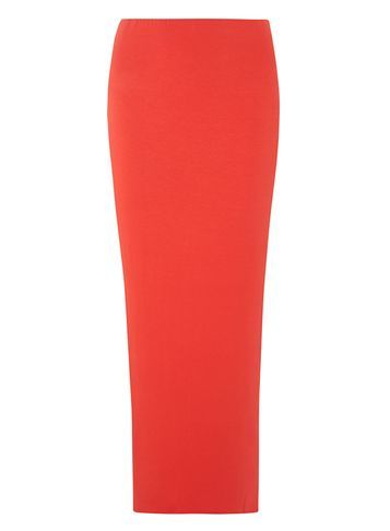 Womens **Tall Coral Hiwaisted Tube Skirt Coral - pattern: plain; length: ankle length; fit: tight; waist: mid/regular rise; predominant colour: coral; occasions: casual; fibres: viscose/rayon - stretch; style: tube; texture group: jersey - clingy; pattern type: fabric; season: s/s 2016; wardrobe: highlight