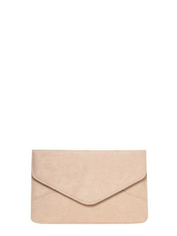 Womens Nude Suedette Clutch Bag White - predominant colour: nude; occasions: evening; type of pattern: standard; style: clutch; length: hand carry; size: standard; pattern: plain; finish: plain; material: faux suede; season: s/s 2016; wardrobe: event