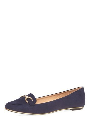 Womens Navy 'lofty' Loafers Blue - predominant colour: navy; occasions: casual, work, creative work; material: suede; heel height: flat; embellishment: snaffles; toe: round toe; style: loafers; finish: plain; pattern: plain; season: s/s 2016; wardrobe: basic