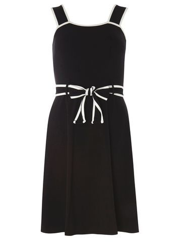 Womens Black Ivory Tipped Sundress Black - pattern: plain; sleeve style: sleeveless; waist detail: belted waist/tie at waist/drawstring; secondary colour: white; predominant colour: black; occasions: evening; length: just above the knee; fit: fitted at waist & bust; style: fit & flare; fibres: cotton - stretch; sleeve length: sleeveless; neckline: medium square neck; pattern type: fabric; texture group: other - light to midweight; season: s/s 2016; wardrobe: event