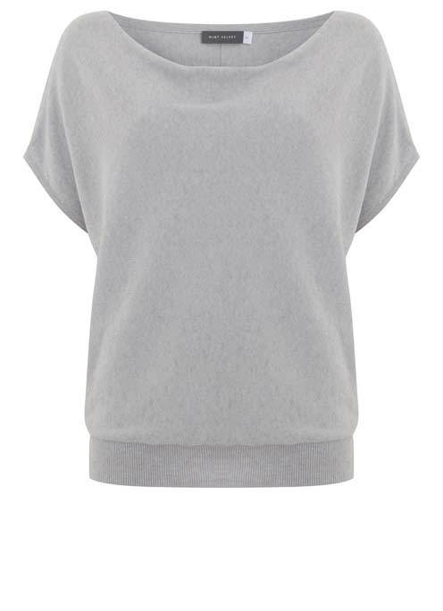Lilac Short Sleeve Batwing Knit - neckline: cowl/draped neck; pattern: plain; style: standard; predominant colour: light grey; occasions: casual; length: standard; fibres: polyester/polyamide - mix; fit: slim fit; sleeve length: short sleeve; sleeve style: standard; texture group: knits/crochet; pattern type: knitted - fine stitch; season: s/s 2016; wardrobe: basic