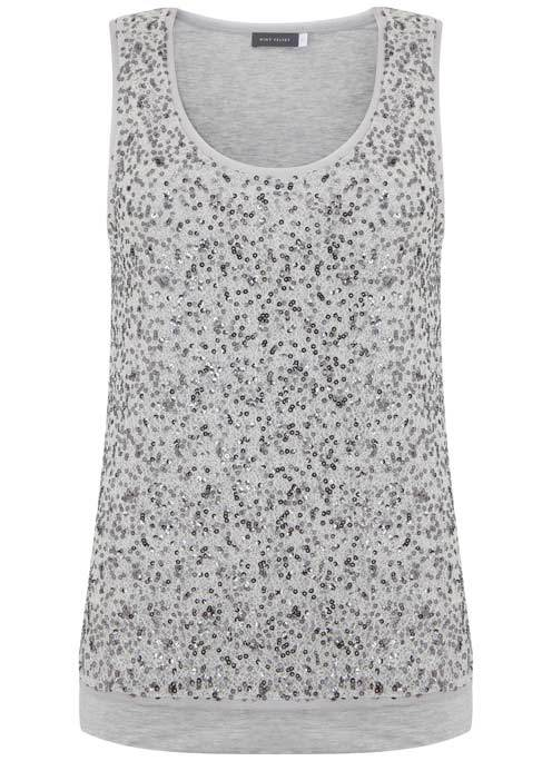 Chalk Sequin Layer Vest - neckline: round neck; pattern: plain; sleeve style: sleeveless; style: vest top; secondary colour: silver; predominant colour: light grey; occasions: evening; length: standard; fibres: polyester/polyamide - 100%; fit: body skimming; sleeve length: sleeveless; pattern type: fabric; texture group: other - light to midweight; embellishment: sequins; season: s/s 2016; wardrobe: event