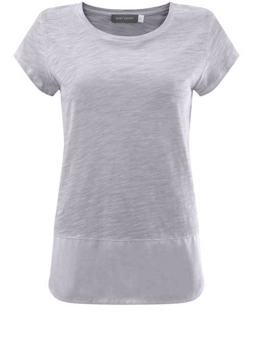 Lilac Woven Hem Tee - neckline: round neck; pattern: plain; style: t-shirt; predominant colour: light grey; occasions: casual; length: standard; fibres: cotton - mix; fit: body skimming; sleeve length: short sleeve; sleeve style: standard; pattern type: fabric; texture group: jersey - stretchy/drapey; season: s/s 2016