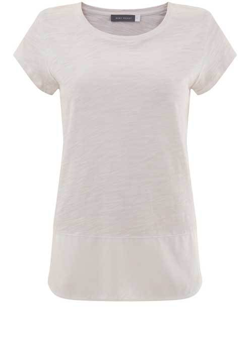 Powder Woven Hem Tee - neckline: round neck; pattern: plain; style: t-shirt; predominant colour: ivory/cream; occasions: casual; length: standard; fibres: cotton - mix; fit: body skimming; sleeve length: short sleeve; sleeve style: standard; pattern type: fabric; texture group: jersey - stretchy/drapey; season: s/s 2016; wardrobe: basic